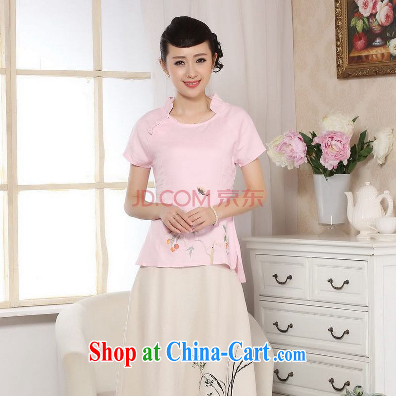 Uh, Ms. JOSEPH Tang Women's clothes summer wear T-shirt, cotton for the hand-painted Chinese Han-female improved Tang replace short-sleeved pink XXL