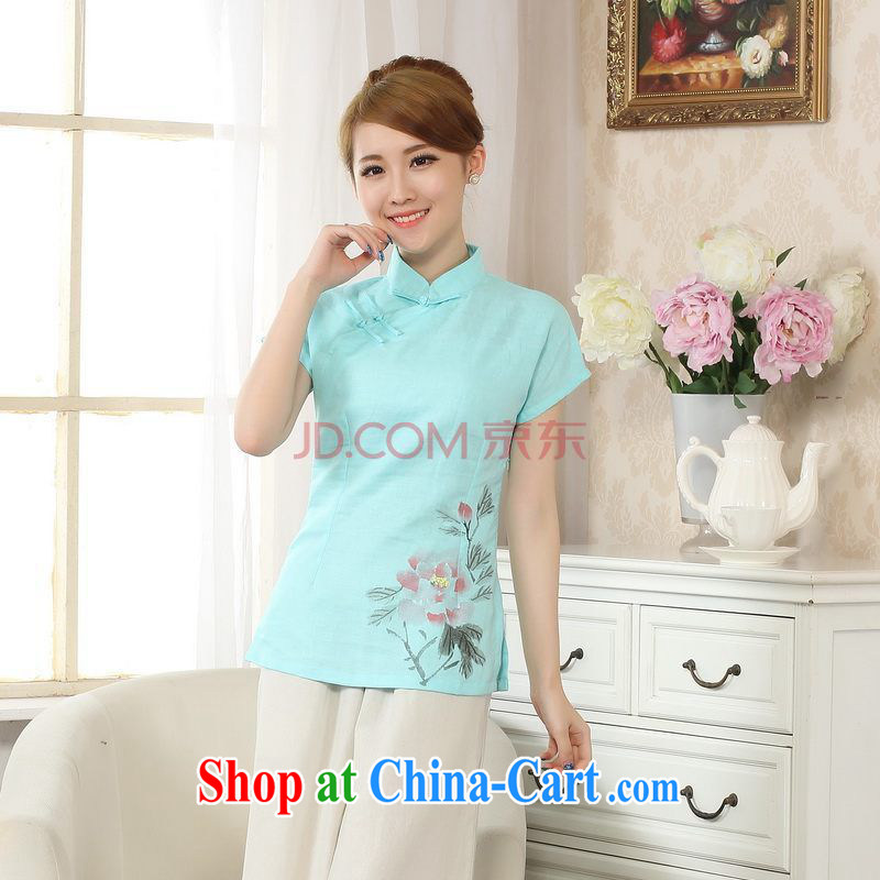 Uh, Ms. JOSEPH Tang Women's clothes summer T-shirt, cotton for the hand-painted Chinese Han-female improved Chinese short-sleeve - C Lake blue XXL