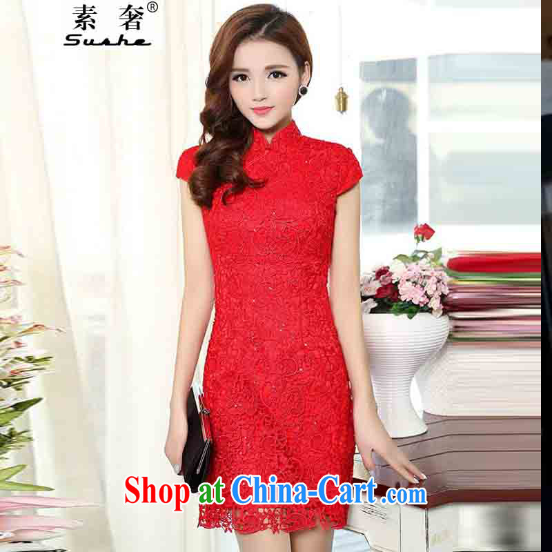 luxury of 2015 New Red lace bridal wedding dresses bows clothes and stylish high-end dresses retro crowsfoot toast wedding long gown beauty red XXXL