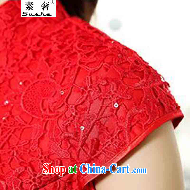luxury of 2015 New Red lace bridal wedding dresses bows clothes and stylish high-end dresses retro crowsfoot toast wedding long gown beauty red XXXL, extravagance, and shopping on the Internet