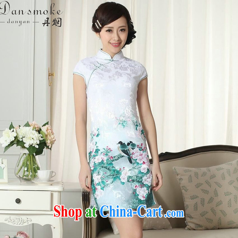 Dan smoke lady daily fashion jacquard cotton cultivating short cheongsam dress Chinese improved, flower for new dresses dresses such as the color 2 XL