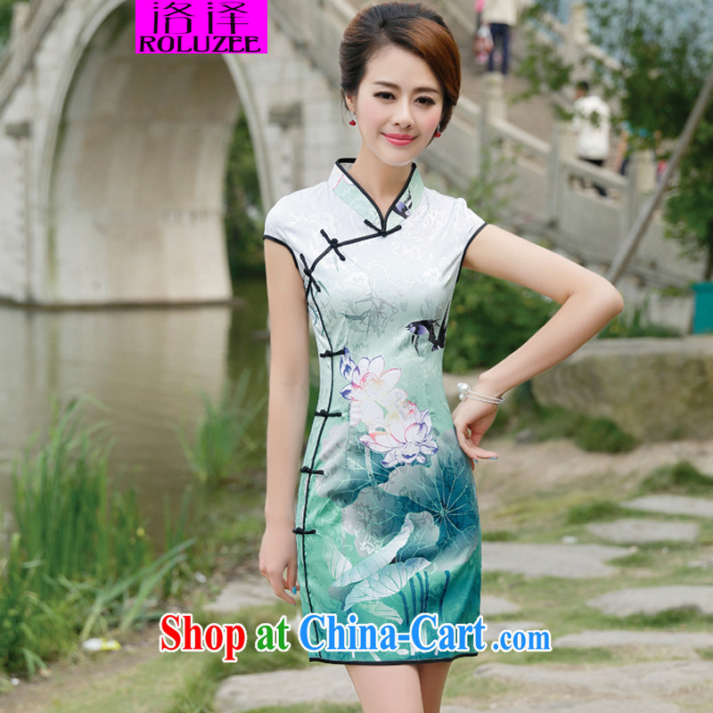 Los Angeles Summer 2015 new girls flouncing peony flower pattern short-sleeve elegance beauty cheongsam dress Black Lotus S