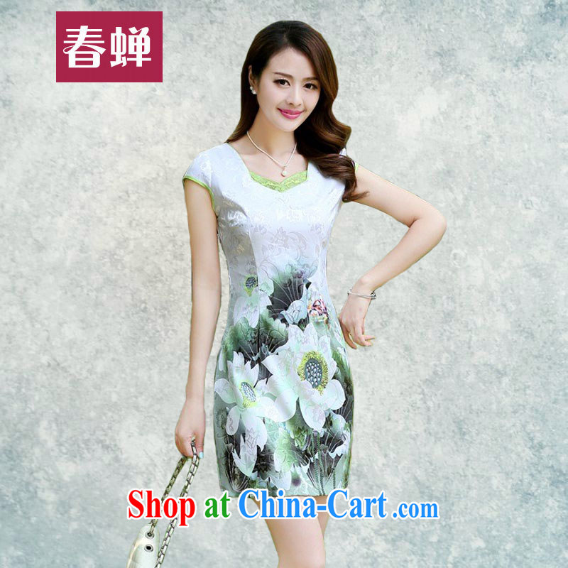 Silent Spring and Summer 2015 new, improved short cheongsam style lady beauty dresses elegant and well refined graphics thin large antique flower cheongsam dress 6968 Green lotus XL
