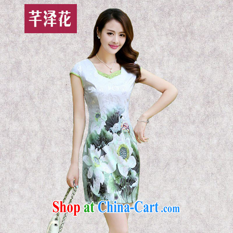 Constitution, take women summer 2015 new improved short cheongsam style lady beauty and elegant graphics thin the retro package and dresses 6968 Green lotus S