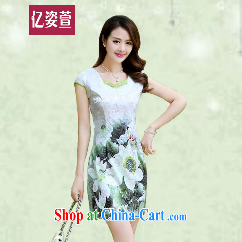100 million Dollar City summer 2015 new female improved short cheongsam dress style ladies elegant beauty package and graphics thin the retro dresses 6968 Green lotus M