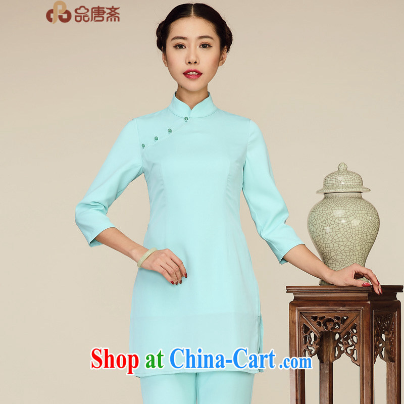 Mr Henry Tang, Id al-Fitr spring new 2015 National wind retro beauty 7 cuff Chinese clothing improved cheongsam shirt light green L