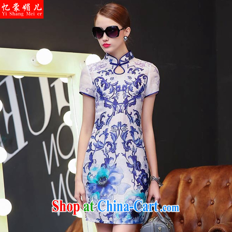 Recall that advisory committee that Children Summer 2015 new stamp blue and white porcelain qipao, for cultivating cheongsam 85,108 blue and white porcelain XL