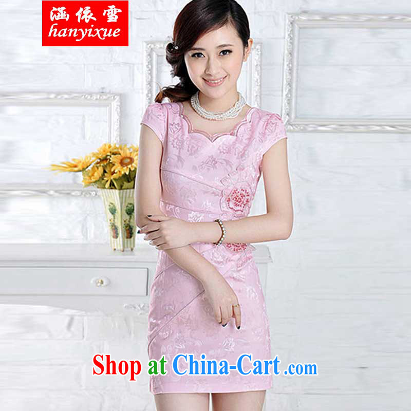 covered by snow in summer 2015 stylish embroidered cheongsam dress pink M