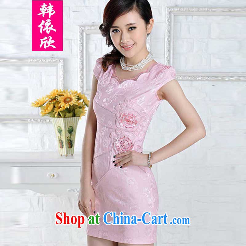 Korea in 2015 was new, improved stylish embroidered clothes video waist dresses summer dresses dresses pink XL