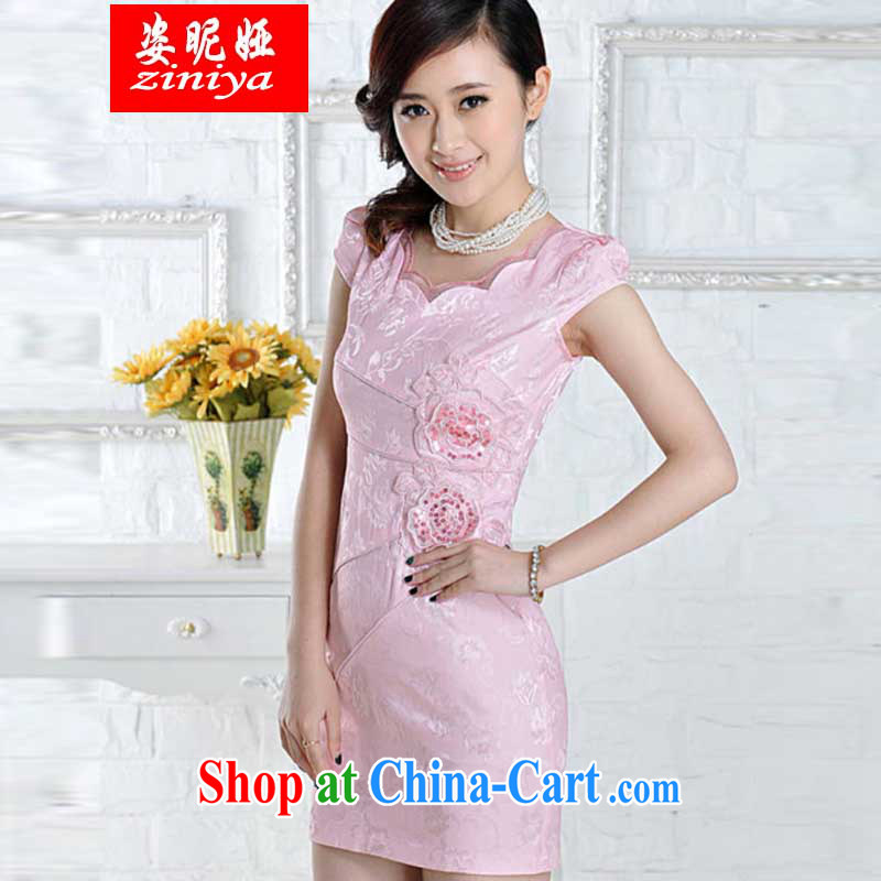 Colorful nickname Julia new improved stylish embroidered clothes video waist dresses summer dresses dresses pink XXL