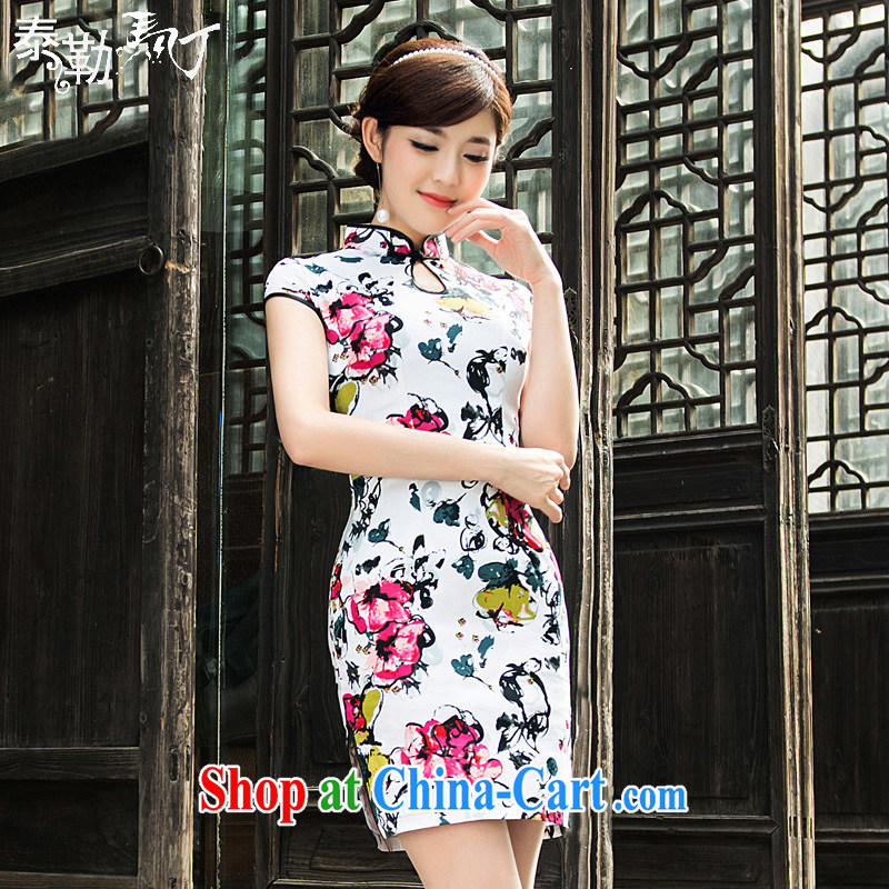 Taylor Martin the retro improved daily goods short package beauty and cheongsam dress 2015 spring and summer female white XXL