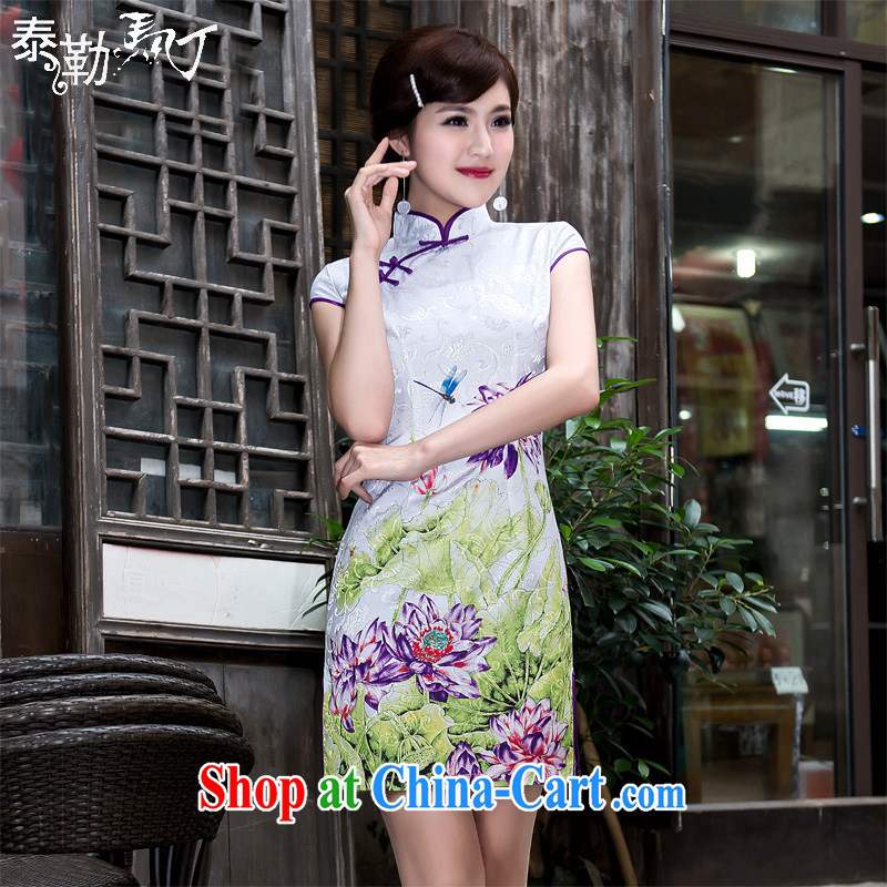 2015 spring and summer daily short cheongsam large Lotus jacquard cotton cultivating graphics thin traditional improved cheongsam dress girls white XXL