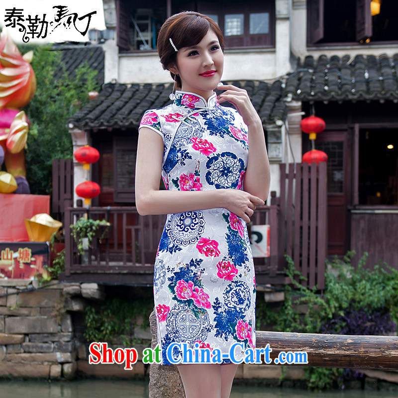 2015 President Taylor Martin new charm blue and white porcelain flowers daily goods short, Beauty packages and improved cheongsam dress girls white XXL