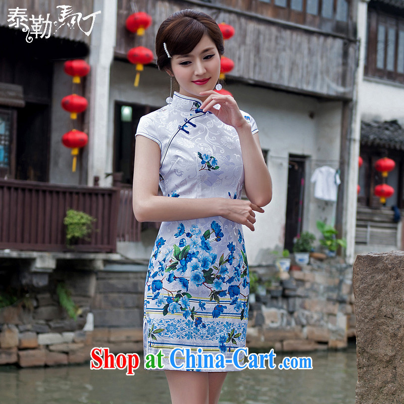 Martin Taylor 2015 spring and summer New Daily Short cheongsam floral beauty graphics thin out the street cheongsam dress improved arts blue XXL