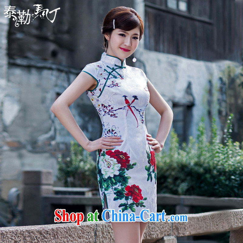 Martin Taylor spring 2015 retro improved the short cheongsam beauty package and elegant qipao skirts female white XXL