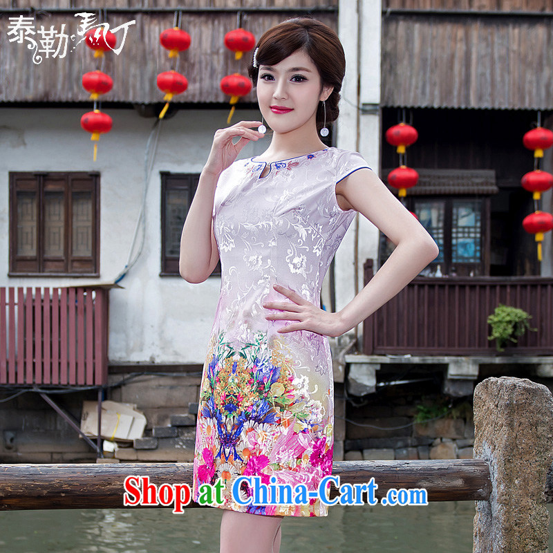 2015 new spring and summer day-dresses dresses short embroidery round low for improved stylish beauty cheongsam dress the white XXL