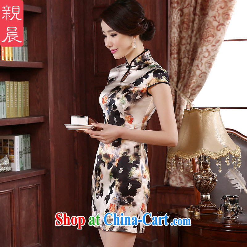 pro-am 2015 New Spring Summer retro improved stylish upmarket silk dos santos Ms. Silk Cheongsam dress dress light gray 2 XL - 5 day shipping