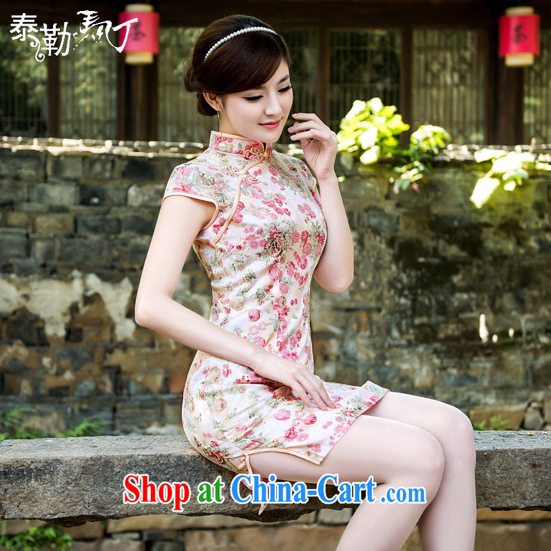 Small and fresh pink flowers daily short cheongsam 2015 spring and summer, refined and elegant beauty package and cheongsam dress girls white XXL