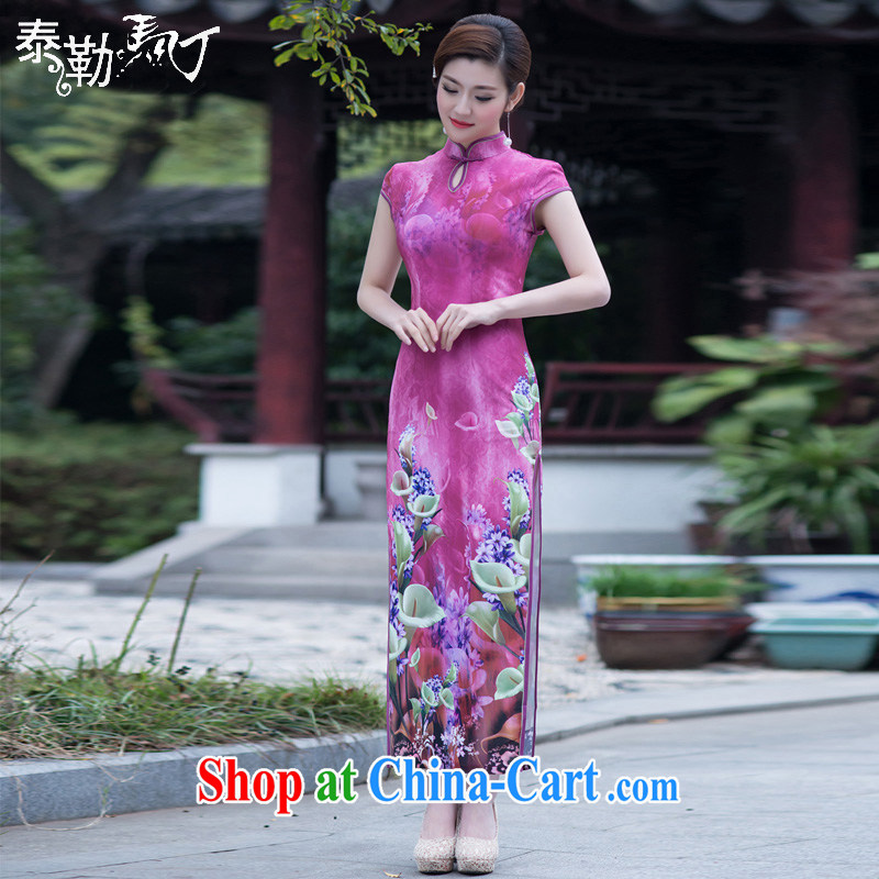 2015 Taylor Martin new spring and summer long cheongsam high on the truck retro improved beauty and elegant qipao skirts daily banquet peach XXL