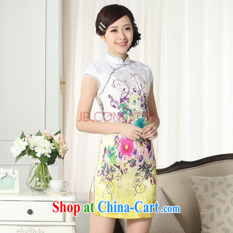 And Jing Ge lady stylish jacquard cotton cultivating short cheongsam dress new Chinese qipao gown picture color 2 XL