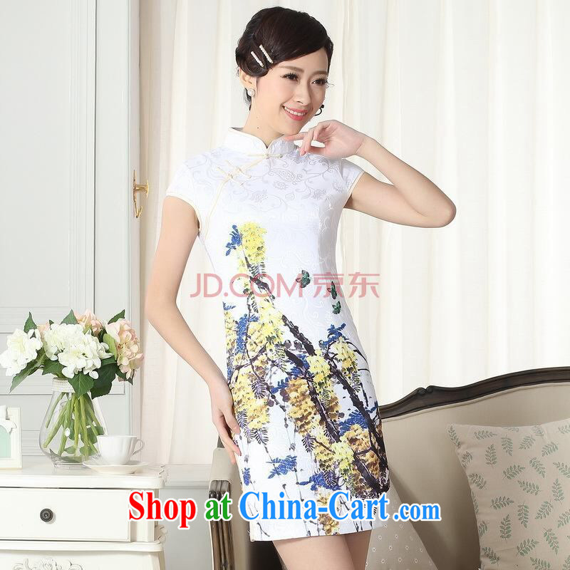 And Jing Ge new summer elegance Chinese qipao Chinese graphics thin short cheongsam picture color 2 XL