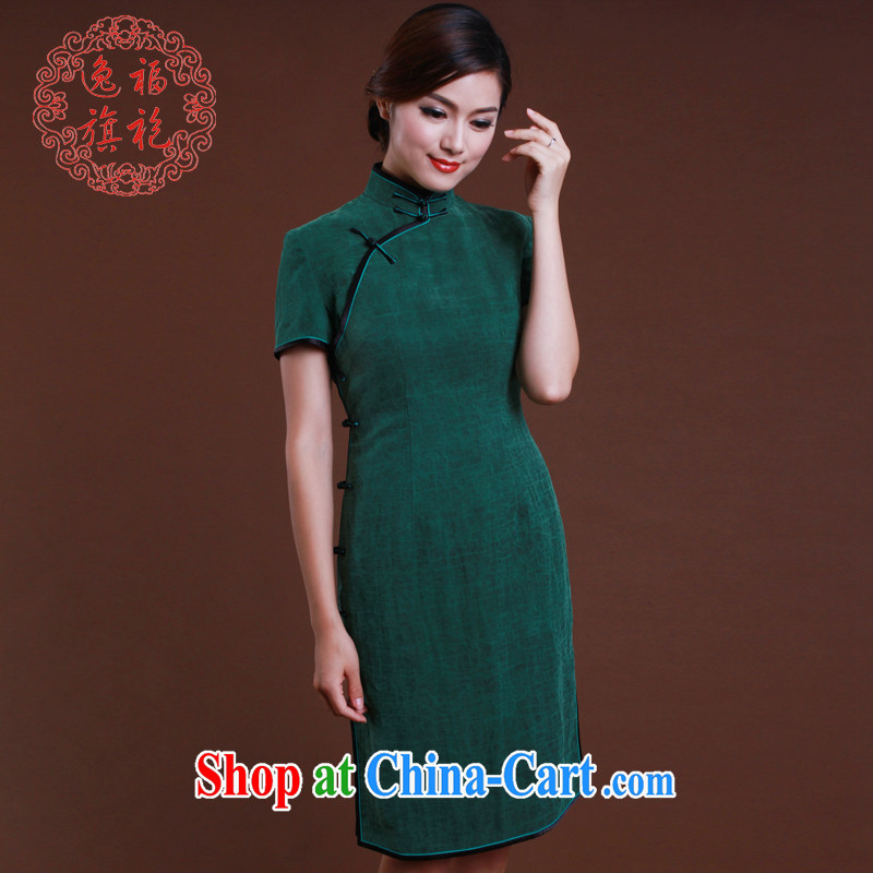 once and for all, new dresses 2015 spring dark green silk fragrant cloud yarn cheongsam short cheongsam Korea antique custom dark tailored 10 day shipping
