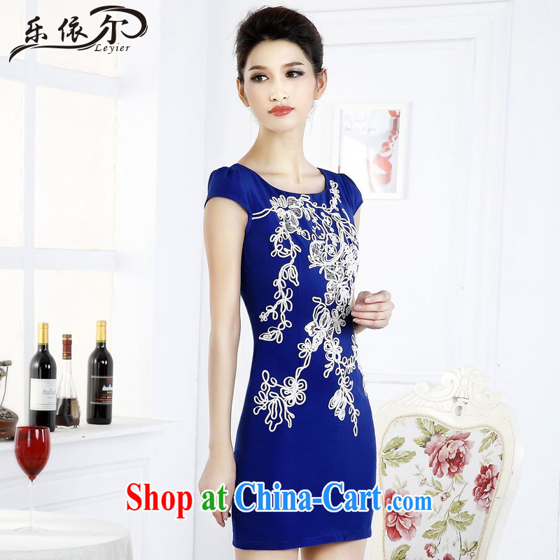 In accordance with American women's dresses with graphics thin package and improved lady short cheongsam dress retro LYE 66,619 blue XXL
