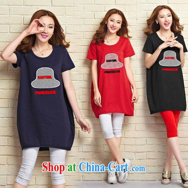 hamilton 2015 summer new female Korean loose the Code T shirt hat stamp duty, long T pension blue XL