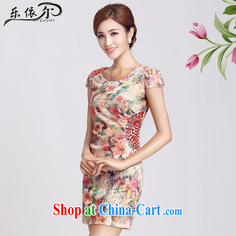And, in accordance with short-sleeved improved retro dresses dresses beauty package and daily lady short cheongsam LYE 66,622 red L