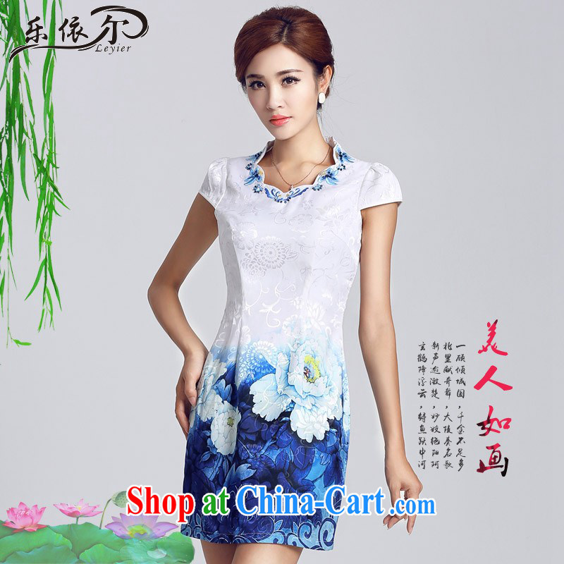 And, in accordance with classical stamp lady dresses retro embroidery flowers daily cultivating short cheongsam improved Party Ends LYE 66,629 white XXL