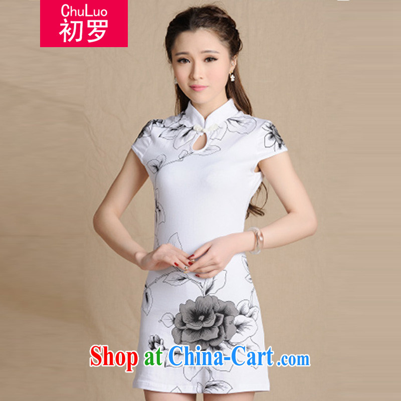 Early 2015, summer, new female Chinese stamp duty cultivating cotton skirts dresses Ethnic Wind painting antique dresses female white XXL