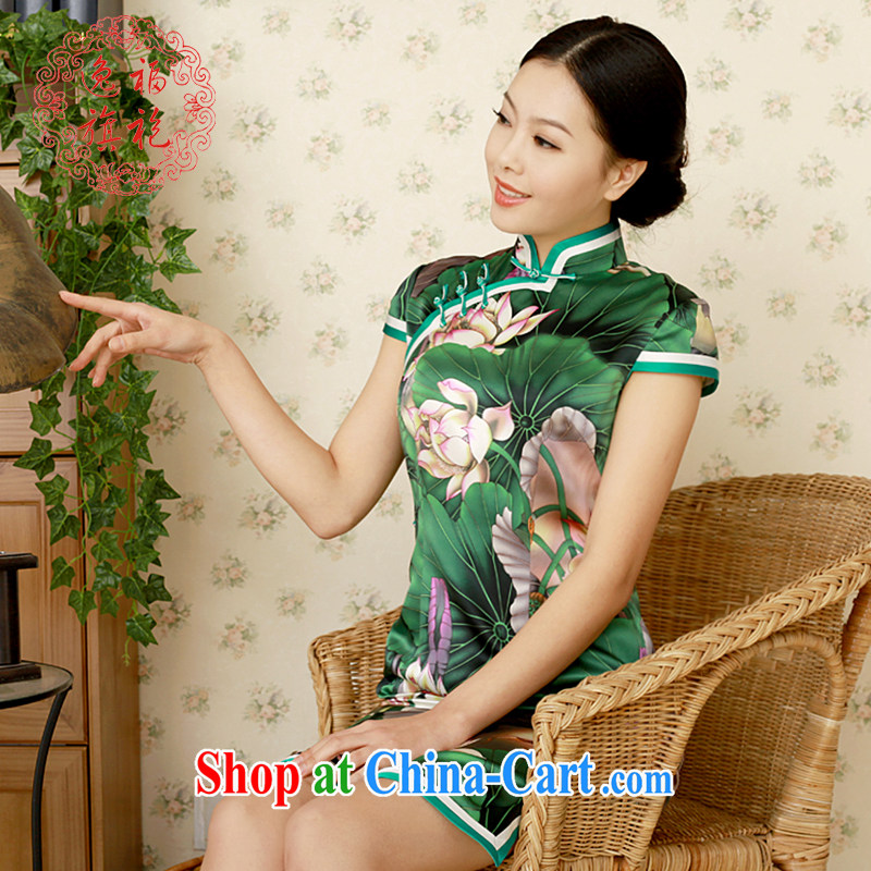 once and for all, new summer dresses, high quality handmade cheongsam Green lotus heavy Silk Cheongsam original design custom green tailored 10 day shipping