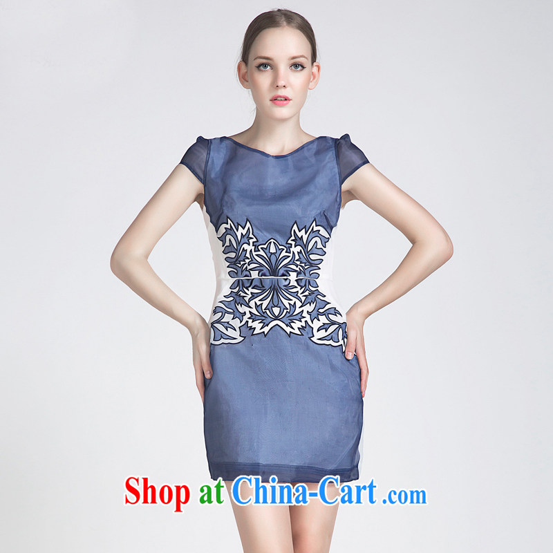 The 2015 spring and summer European root yarn embroidered a waist short-sleeve dresses retro elegant qipao stamp duty Po blue XL