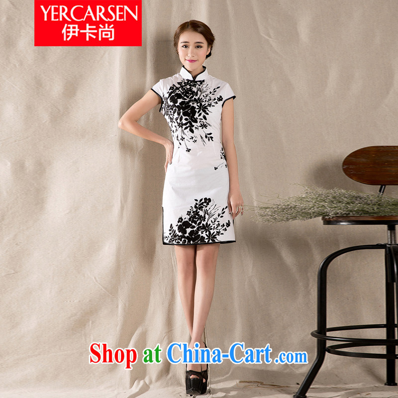 The card is still _YERCARSEN_ 2015 summer new Stylish retro cheongsam dress ethnic Chinese style and elegant stamp girls dresses white XXL