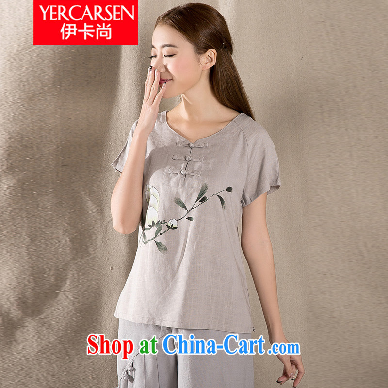 The card is still (YERCARSEN) 2015 summer new antique Chinese cotton Ms. Yau Ma Tei Chinese cheongsam shirt gray XXL