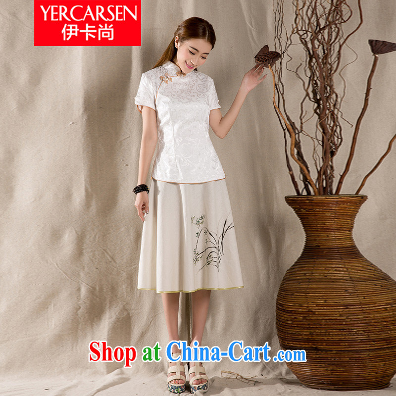The card is still _YERCARSEN_ 2015 summer New-snap embroidery Chinese T-shirt Chinese style retro female Chinese White XXL