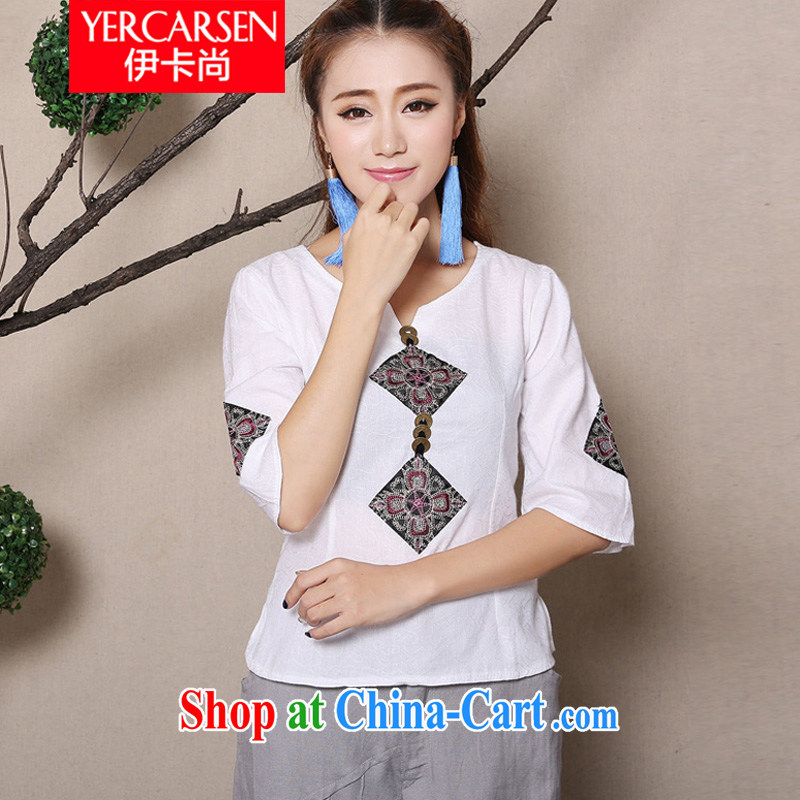 The card is still _YERCARSEN_ 2015 original spring and summer new cuff in Yau Ma Tei cotton shirt 100 ground National wind embroidery girls shirt white XL