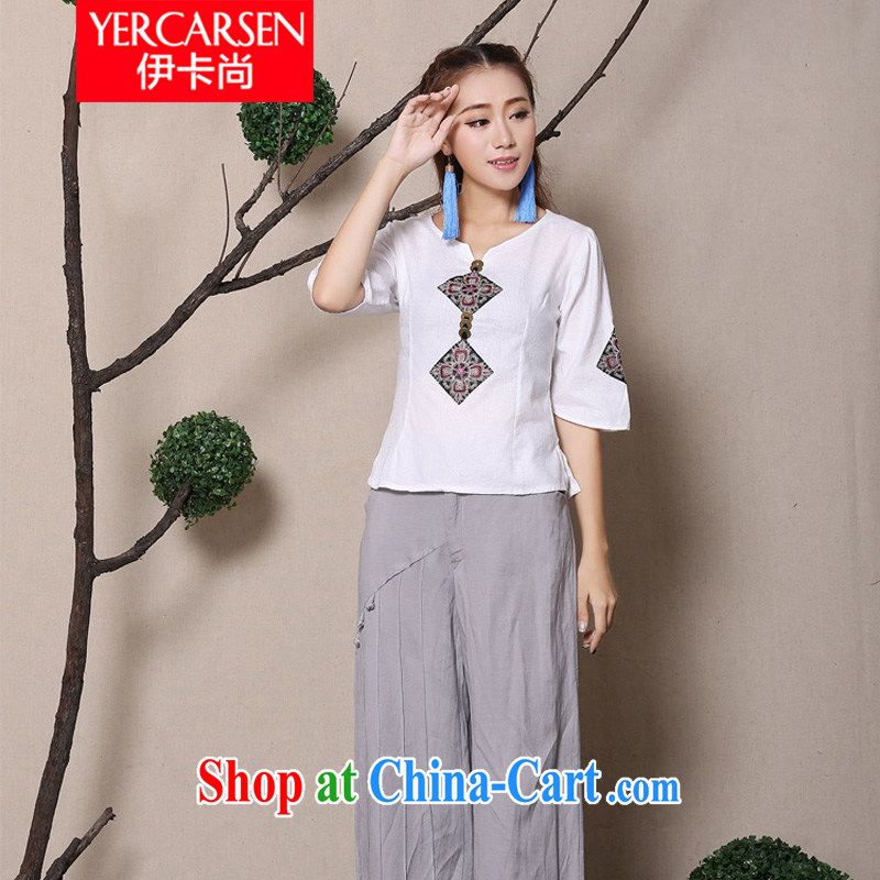 The card is still (YERCARSEN) 2015 original spring and summer new cuff in Yau Ma Tei cotton shirt 100 ground National wind embroidery girls shirt white XL, the card is still (YERCARSEN), shopping on the Internet