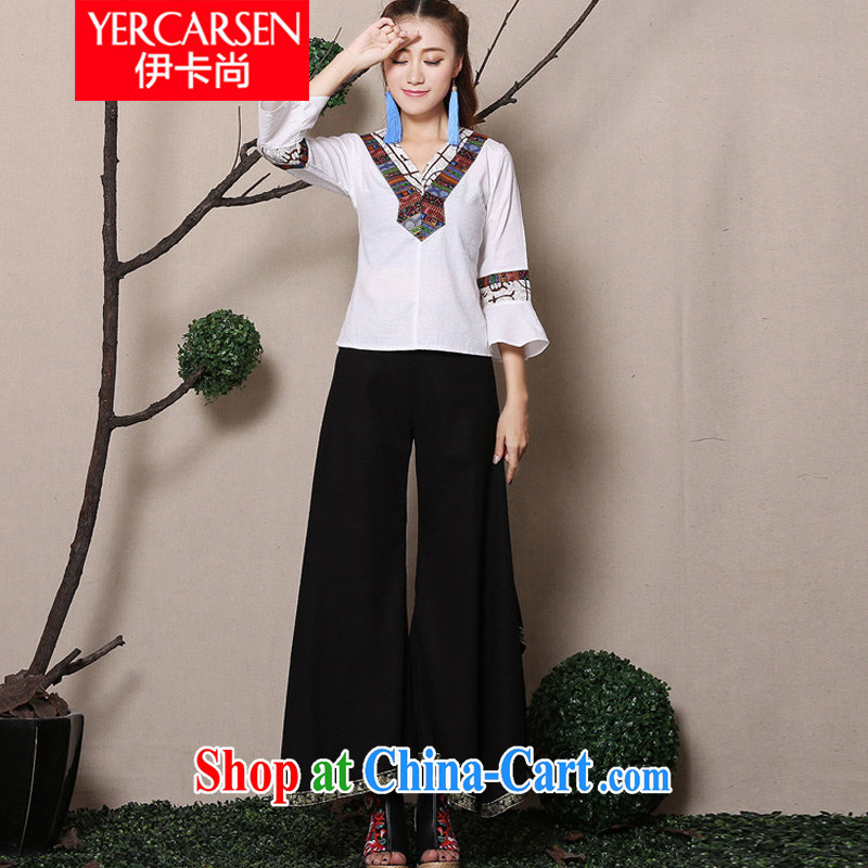The card is still _YERCARSEN_ 2015 spring and summer New Net color Phnom Penh 8 corner pants large code base and cotton the ethnic wind casual women pants black are code