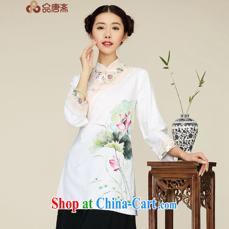 For Tang Id al-Fitr spring new 2015 China wind retro beauty long cotton Ma improved cheongsam shirt female white L