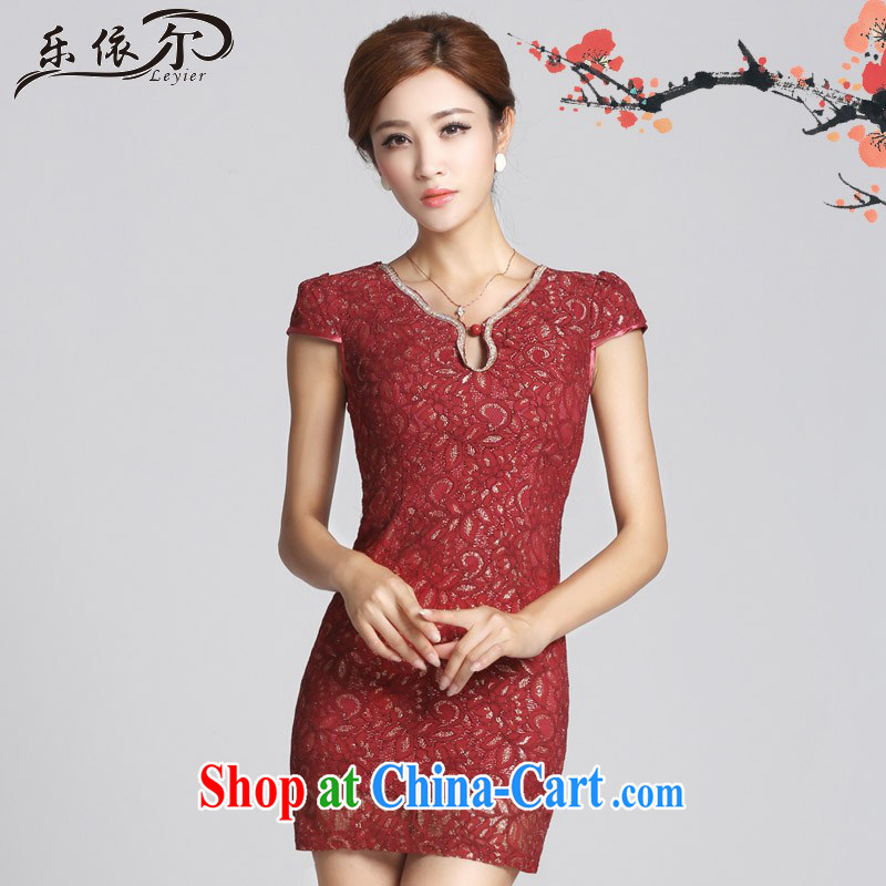 And, in accordance with antique lace girl cheongsam improved lady short cheongsam dress the beads daily LYE 66,612 red XXL