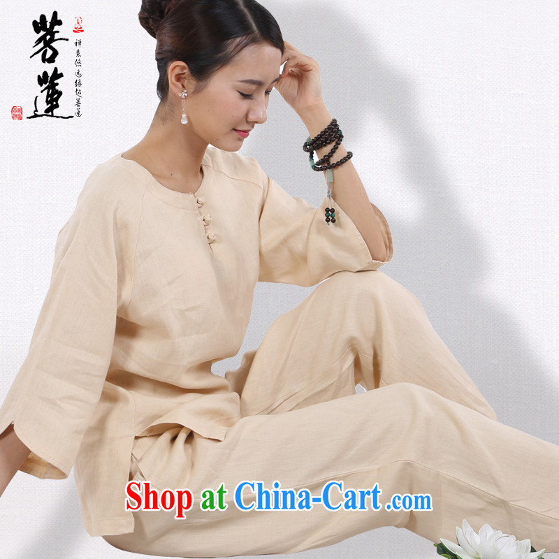 Restrictive Lin plain linen women Tang is for China wind meditation Service Manual painting Nepal yoga Tai Chi meditation service m yellow M