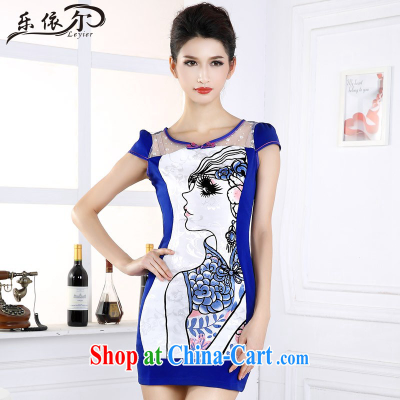 And, in accordance with cheongsam beauty graphics thin daily short-sleeved girl cheongsam dress improved retro set drill LYE 66,602 blue XXL
