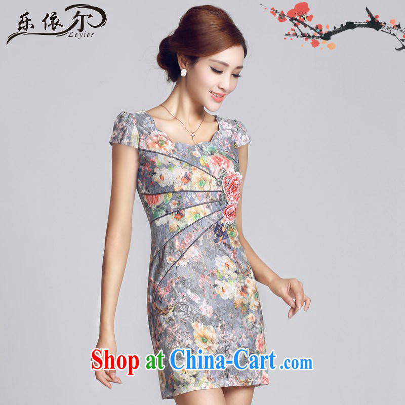 And, in accordance with improved lady dresses retro embroidery take short cheongsam dress daily video thin package and LYE 66,621 blue XXL