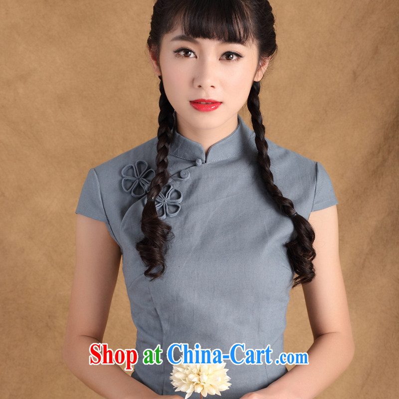 The cross-sectoral Diane Elizabeth blue summer cotton Ma improved cheongsam shirt Tang Women's clothes Chinese Chinese, ethnic wind ctb TC multi-color light blue _128_ S
