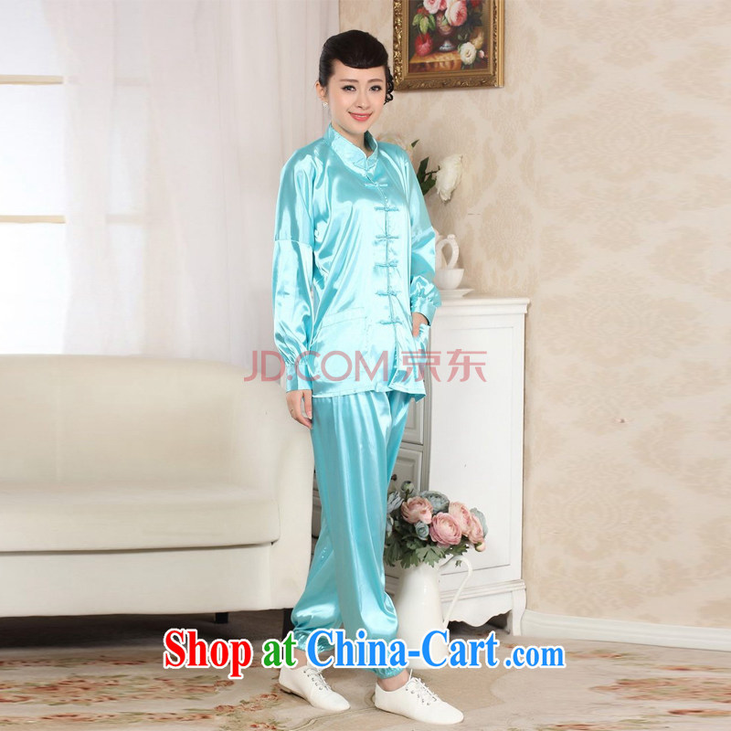 Uh, Ms. JOSEPH spring loaded Tang kit, for Ms. damask long-sleeved T-shirt Kung Fu Tai Chi clothing - E picture color XXL