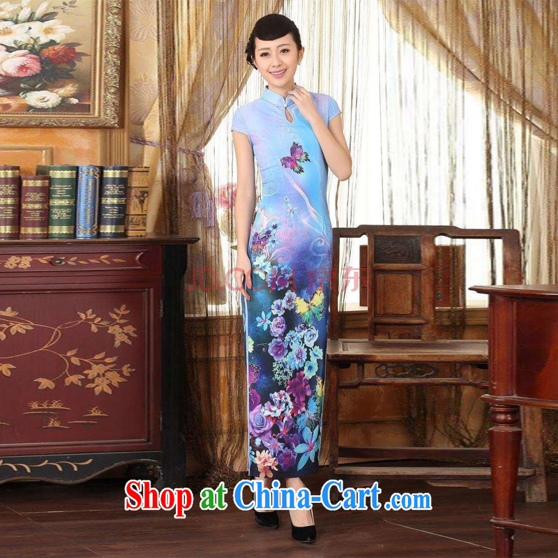 Joseph cotton robes, Ms. Tang with Diane Fong water droplets collar short-sleeve cultivating long double cheongsam light blue XXL