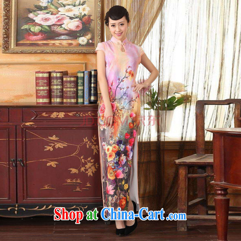 Joseph cotton robes, Ms. Tang with Diane Fong water droplets collar short-sleeve cultivating long double cheongsam pink XXL