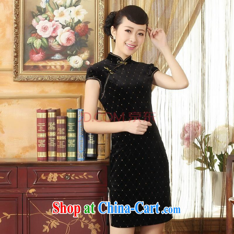 Joseph cotton Ms. Tang cheongsam dress with dress stretch the wool stylish classic short-sleeved short cheongsam black XXL