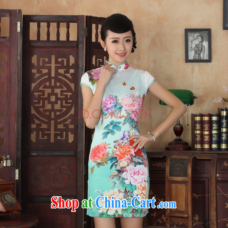 Joseph cotton robes, Ms. Tang fitted dresses new summer elegance Chinese cheongsam peony flower short cheongsam picture color XXL